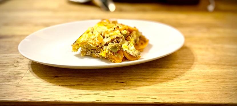 """""""Breakfast for dinner"""" gluten-free egg casserole withlamb"""