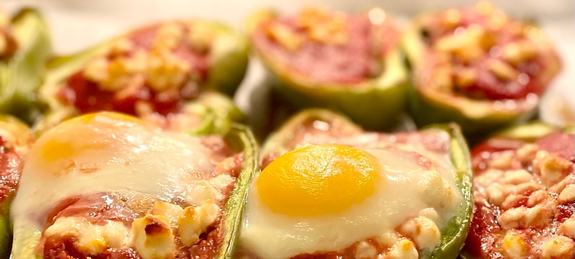 Stuffed bell peppers with an egg ontop