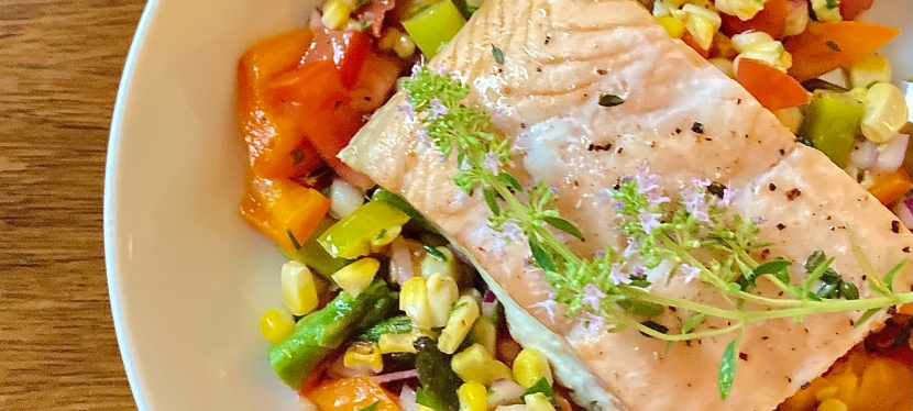 Corn Salad and Baked ThymeSalmon